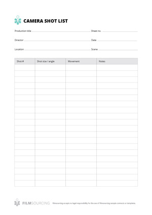 Download free filmmaking production documents camera shot list pronofoot35fo Choice Image