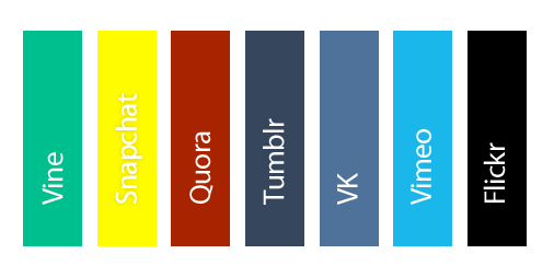 Social Media Brand Colors - Vine, Snapchat, Quora, Tumblr, VK, Vimeo, Flickr