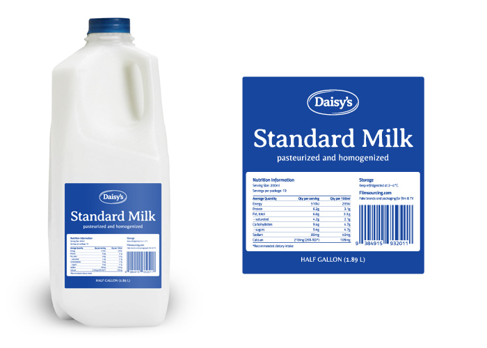 budget milk label