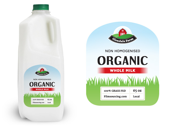 fake organic milk label for film