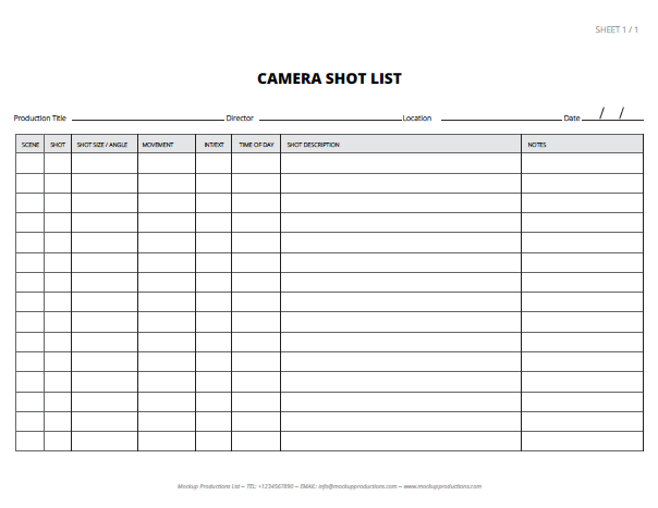 ... Movie Shot List